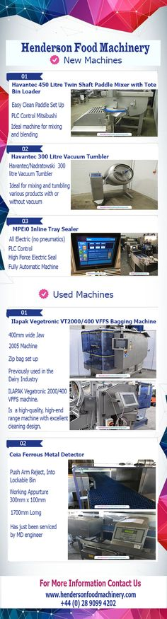 Henderson Food Machinery can supply an extensive and varied selection of new and used food processing and packaging machinery.