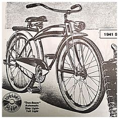 1941 Elgin advertisement by Sears Bicycle News, Antique Bicycles, Vintage Bicycles, Tricycle, Vintage Ads, Advertising, Antiques, Car, Antiquities