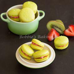 Kiwi Strawberry Macarons