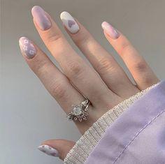 Asian Nails, Korean Nails, Asian Nail Art, Pastel Nail Art, Purple Nail Art, Funky Nails, Cute Nails, Korea Nail Art, Soft Nails