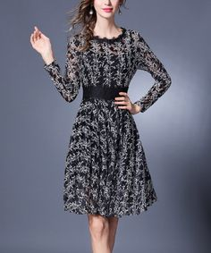 Loving this Black Intricate Lace-Overlay Dress on #zulily! #zulilyfinds