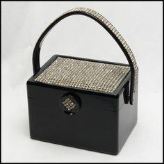 Vintage handbag - ULTIMATE BLACK LUCITE AND RHINESTONE vintage  WILARDY box bag, purse, bag, handbag, hand bag, boxbag, pocketbook, handbaggallery, handbag gallery