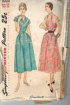 Vintage 1950's Simplicity 3203 Pretty Summer Dress w Pockets Sz 20 Sew Pattern