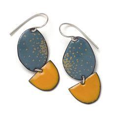 Blue Oval, Orange Moon & golden enamel earrings