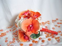 Coral's Bridal Bouquet with Orange by ArtisticFloralDesign on Etsy