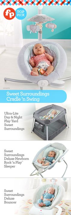 Surround baby in comfort and style with the Sweet Surroundings Collection.  A cozy baby is a happy baby. With the Sweet Surroundings Cradle 'n Swing in your home, you can help baby feel soothed and relaxed whenever you need a free minute for your arms. Two different swinging motions and a variety of other customizable features allow you to choose and combine what baby likes best. View the entire collection at Target.com