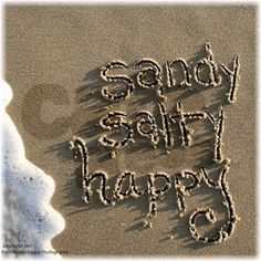 Sandy Salty Happy. Sand Script Shower Curtain by SandScripts.