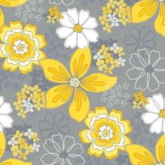 Gray and Yellow Floral Fabric, Gray Matters, Camelot Cottons, Fat .