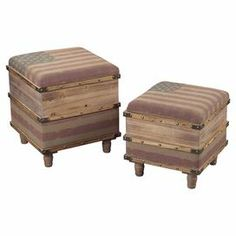 "Bring antiqued appeal to your living room or den with these weathered storage ottomans, showcasing banded detailing and an American flag motif.  Product: Small and large storage ottomanConstruction Material: Wood, engineered wood, and linenColor: Light distressed oak and tea stained red, blue, and whiteDimensions: 20"" H x 18.5"" W x 18.5"" D (large)Cleaning and Care: Wipe with damp cloth"