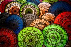 Myanmar, Bagan. Colourful Burmese umbrellas in a shop in Bagan.