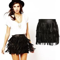 Faux Leather Fringe Skirt Very cute! Has a gold zipper in the back!  Runs true to size. Skirts Mini