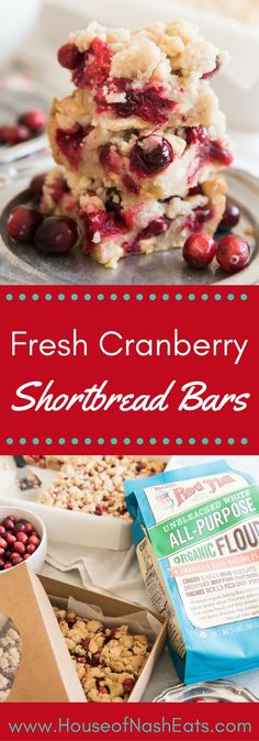 These Fresh Cranberry Shortbread Bars make a great Thanksgiving dessert or a beautiful addition to a Christmas cookie platter! Simple, buttery, and full of sweet-tart cranberry flavor, these wonderful bars have white chocolate and macadamia nuts to make them even more special! [Ad]