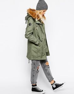 Alpha Industries | Alpha Industries Fishtail Parka Coat With Shearling Lining & Faux Fur Hood at ASOS
