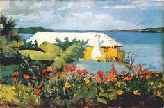 Flower Garden and Bungalow, Bermuda - by Winslow Homer