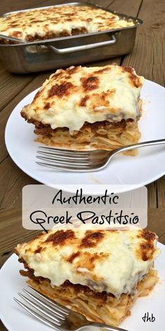 Authentic Patitsio (Greek Lasagna), layers of seasoned ground beef, Kasseri cheese and topped with bechamel sauce. Greek Pastitsio, Greek Lasagna, Pasta Recipes, Cooking Recipes, Amish Recipes, Greek Food Recipes, Greek Cooking, Greek Dishes, Seafood