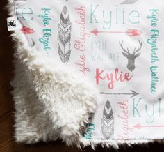 Monogrammed Baby Blanket, Llama Minky Stroller Blanket, Double Layer Personalized Stroller or Carseat Blanket, Woodland Deer and Arrows by HelloDearestBaby on Etsy https://www.etsy.com/listing/266007948/monogrammed-baby-blanket-llama-minky