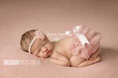 Old Rose Chiffon Diaper Cover Newborn Baby Photography Props with Matching Headband - Newborn Photo Props, Bloomers, Girl Props, Mauve Pink by CustomPhotoProps on Etsy