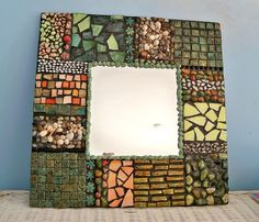 mirror ,wall decor organic, wall mirror, mosaic mirror, shells tiles and colored glass, beach mirror, mixed media mirror, handmade mirror