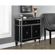 Brushed Charcoal and Black Mirrored Accent Table   Overstock.com Shopping - The Best Deals on Coffee, Sofa & End Tables