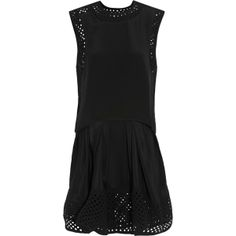 Laser-cut silk crepe-trimmed mini dress 3.1 Phillip Lim ... - Online Shop