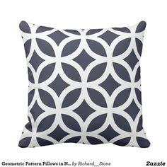 Geometric Pattern Pillows in Navy Blue
