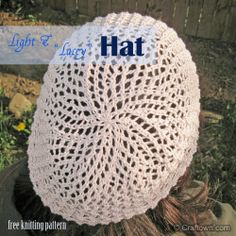Free Knitting Pattern - Light Lacy Hat. A pretty slouchie summer hat. #craftown #knitting #slouchie #beanie