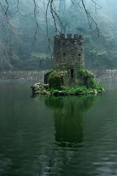 Pena National Palace Portugal (by Mogdig). I so want a folly in the middle of a lake that looks like a sunken castle.