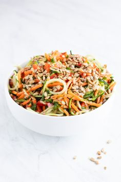 Fresh and colorful, this Low FODMAP Asian Zoodle Salad is DE-lish! Make this fast and flavorful salad recipe for a simple no-cook side dish salad. Plant Based Recipes, Veggie Recipes, Salad Recipes, Healthy Recipes, Vegan Zoodle Recipes, Vegan Meals, Lunch Recipes, Free Recipes, Fodmap Diet
