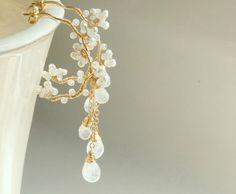 Rainbow Moonstone Blossoms Earrings Wedding Bridal by Yukojewelry