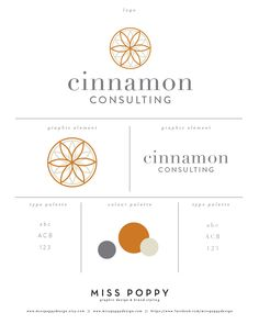 Color Palette   Logo, Branding and Graphic Design Elements for Cinnamon Consulting. www.etsy.com/... www.facebook.com/... Designed by Miss Poppy Design. Brand. Business. Modern. Clean. Colour Palette.