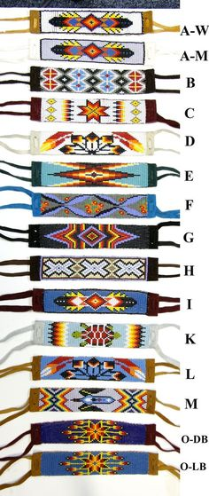 Beaded Bracelet With Suede Backing & Ties Beading loom images Native Beading Patterns, Beadwork Designs, Seed Bead Patterns, Beaded Jewelry Patterns, Peyote Patterns, Bead Loom Designs, Weaving Patterns, Indian Beadwork, Native Beadwork