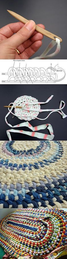 Rag rug. Super easy and fast to make. Not crochet, but has the same effect. My rag rug lasted over 10 years!