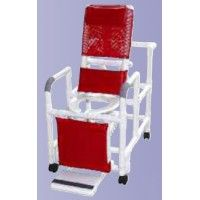 Reclining shower chair w/deluxe elongated open front commode seat footrest padded elevated leg extension & lumbar support