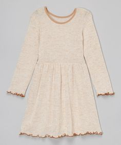 Look at this KIDZ DE JOUR Tan Lettuce-Edge Dress - Girls on #zulily today!