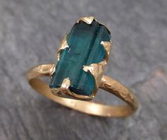 Raw Blue Tourmaline Indicolite Gold Ring Rough Uncut by byAngeline