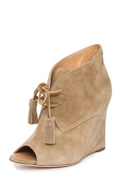 1e09c74e64089 Women Nude Suede Leather Peep Toe Wedge Heel Lace-Up Booties Shoes US 8 EU  Peep-toe lace up wedges. CoutureOnly · D S Q U A R E D