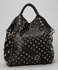 Take a look at this Black & Silver Stud Satchel by Yoki on #zulily today!
