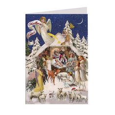 Nativity Scene with Angels Glittered Christmas Card ~ Germany