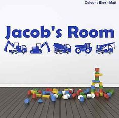 Captivating #Personalised #digger Wall Art #stickers Boys Bedroom Bob The Builder  Wallpaper, View Gallery