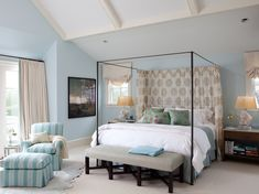 metal-canopy-bed-Bedroom-Transitional-with-animal-hide-area-rug.jpg (990×742)