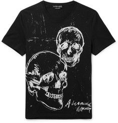 Alexander Mcqueen Slim-fit Printed Cotton-jersey T-shirt In 0901 Blkmix Printed Tees, Printed Cotton, Alexander Mcqueen T Shirt, Designer Clothes For Men, Skull Print, Prints, Mens Tops, Designer Menswear, Slim