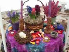 pretty Ostara altar