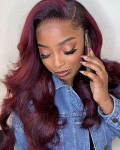 Red Wigs Lace Frontal Wigs Mexican With Red Hair Blue Bob Lace Front W – shaddocktal Burgundy Hair Black Girl, Hair Color Purple, Blue Hair, Burgandy Color, Burgundy Weave, Violet Hair, Purple Lace, Hair Colors, Brown Hair