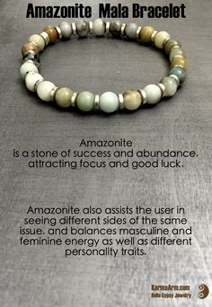 "Amazonite is a ""Stone of Success and Abundance"", attracting focus and good luck.  ABUNDANCE: Amazonite Yoga Mala Bracelet"
