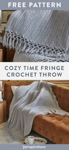 Free Cozy Time Fringe Throw crochet pattern using Red Heart Hygge yarn. Crochet a drapy blanket featuring a knotted fringe that adds a charming macramé touch. Red Heart Hygge yarn is twisted with a short fur end, making for a pretty textured effect on this cozy piece. #Yarnspirations #FreeCrochetPattern #CrochetAfghan #CrochetThrow #CrochetBlanket #RedHeartYarn #RedHeartHygge Crotchet Blanket, Crochet Throw Pattern, Crochet Quilt, Knit Or Crochet, Free Crochet, Red Heart Yarn, Afghan Crochet Patterns, Crochet Projects, Afghans