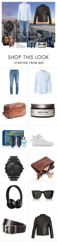 """man  fashion"" by borismijatovic ❤ liked on Polyvore featuring Neuw denim, Polo Ralph Lauren, Jean-Paul Gaultier, Prospector Co., Versace, BUSCEMI, Diesel, Beats by Dr. Dre, Yves Saint Laurent and Prada"