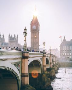 Sun glowing down on Big Ben in London, England. Travel is worth every shot and unforgettable moment. pinterest: jadyn_mariexo
