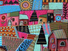 Abstract Town 12x16 inch ORIGINAL CANVAS PAINTING Folk Art ABSTRACT Karla Gerard #FolkArtAbstractPrimitive