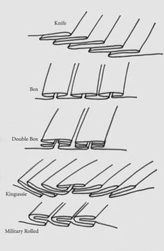 Kilts have specific types of pleats. Pleating options for a kilt other than the standard knife pleat. Kilts have specific types of pleats. Pleating options for a kilt other than the standard knife pleat. Source by dressmaker Sewing Hacks, Sewing Tutorials, Sewing Crafts, Sewing Projects, Fabric Crafts, Techniques Couture, Sewing Techniques, Draping Techniques, Types Of Pleats