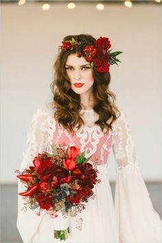 deep red wedding bouquet, except without the flower crown Deep Red Wedding, Boho Wedding, Fall Wedding, Dream Wedding, Geek Wedding, Gothic Wedding, Red Bouquet Wedding, Flower Crown Wedding, Red Flower Crown